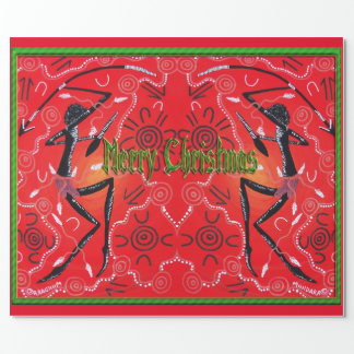 Warrior Full Aboriginal Christmas Wrapping Paper