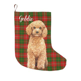 Watercolor Apricot Poodle Dog Personalized Large Christmas Stocking