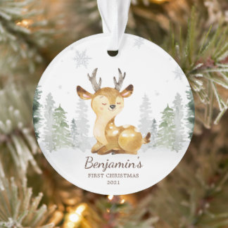 Watercolor Forest Deer Baby's First Christmas Ornament