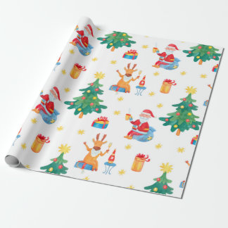 Watercolor seamless pattern with Christmas trees S Wrapping Paper