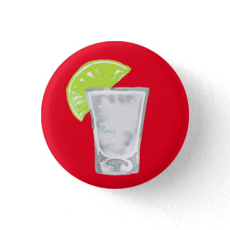 Watercolor Tequila Shot on Red Button