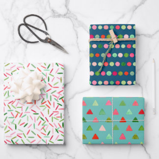 Watercolor Xmas Confetti Stripes Triangles Dots Wrapping Paper Sheets
