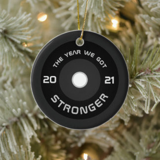 Weightlifter barbell fitness 2021 personalized ceramic ornament