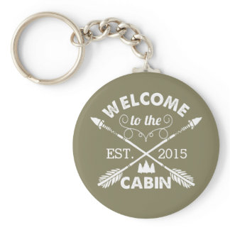 Welcome to the Cabin   Rustic Olive & White Keychain