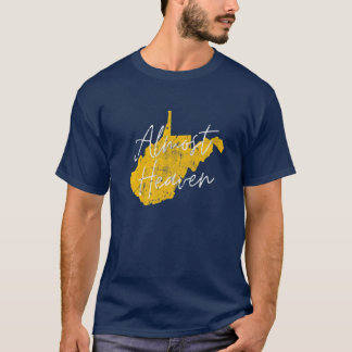 West Virginia Almost Heaven WV Map State Home 304 T-Shirt