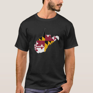 WEST VIRGINIA STATE MAP MARYLAND MD Flag Roots Men T-Shirt