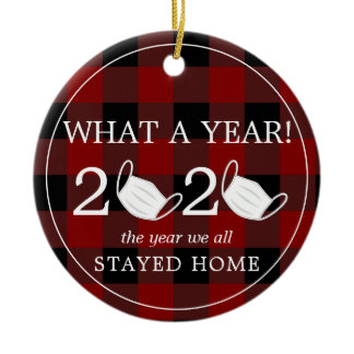What a year 2020 paper roll Red Plaid Photo Ceramic Ornament