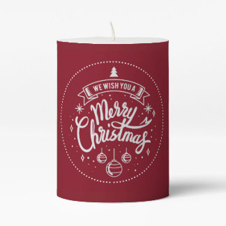 White On Red Merry Christmas Pillar Candle