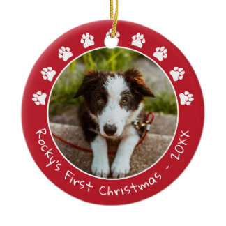 White Red Paw Prints Pet's First Christmas Photo Ceramic Ornament