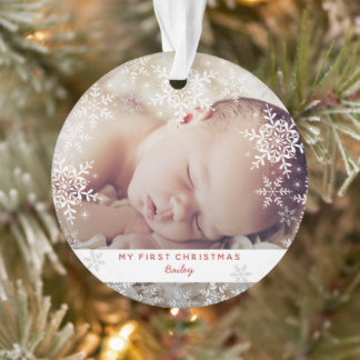 Winter Baby's First Christmas Snowflakes Photo Ornament