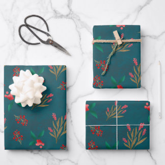 Winter berry- Blue Wrapping Paper Sheets