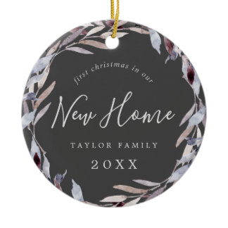 Winter Greenery First Christmas New Home Photo Ceramic Ornament