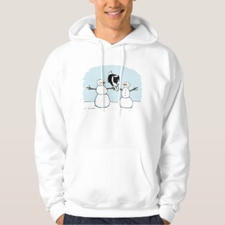 Winter Holiday Border Collie Dog with Snowmen Hoodie