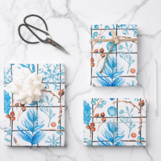 Winter snowflake blue berry feather ice country wrapping paper sheets