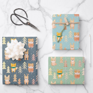 Woodland Animals Mask Tree Pattern Holiday Wrapping Paper Sheets