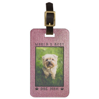 World's Best Dog Mom Paws Rose Gold Glitter Photo Luggage Tag