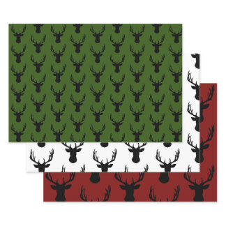 Wrapping Paper Sheet Set - Christmas Stags Head