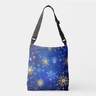 XMAS Blue Background with Golden Snowflakes Crossbody Bag