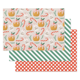Xmas Cake Pattern Cute Holiday Christmas Wrapping Paper Sheets
