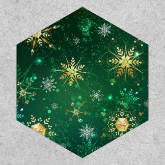 Xmas Golden Snowflakes on Green Background Patch