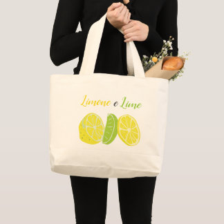 Yellow and Green Italian Lemon and Lime Citrus Large Tote Bag