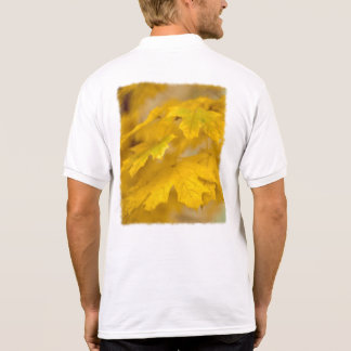 Yellow Autumn Maple Leaves. Text Template. Polo Shirt
