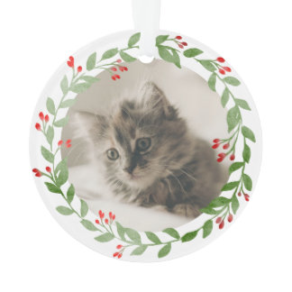 Your Cat Photo Watercolor Wreath 1st Christmas Ornament