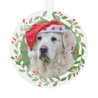 Your Dog Photo Watercolor Wreath 1st Christmas Ornament