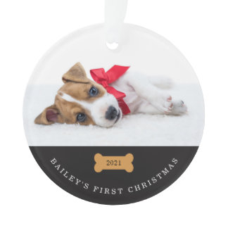 Your Dog's First Christmas   Charcoal with Photos Ornament