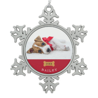 Your Dog's First Christmas | Red with Photo Snowflake Pewter Christmas Ornament