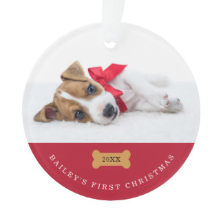 Your Dog's First Christmas | Red with Two Photos Ornament