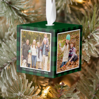Your Family 4 Photo Collage Green Plaid Cube Ornament