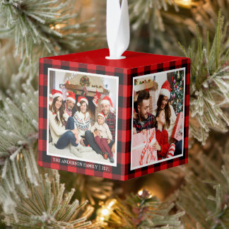 Your Family 4 Photo Collage Red Plaid Cube Ornament