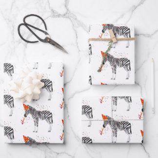 Zebra Party Animal Wrapping Paper Sheets