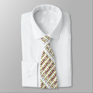 Zimbabwe Flag Typography Pattern African Country Neck Tie